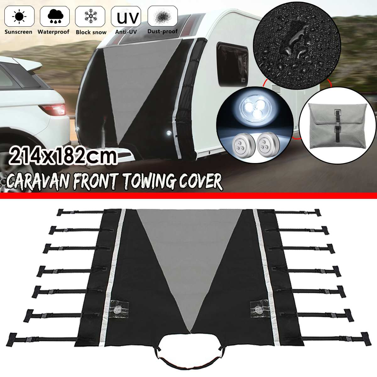 Universal RV Caravan Front Towing Cover Sunshade Dustproof Waterproof Protection With LED Lights For RV Caravan Motorhome