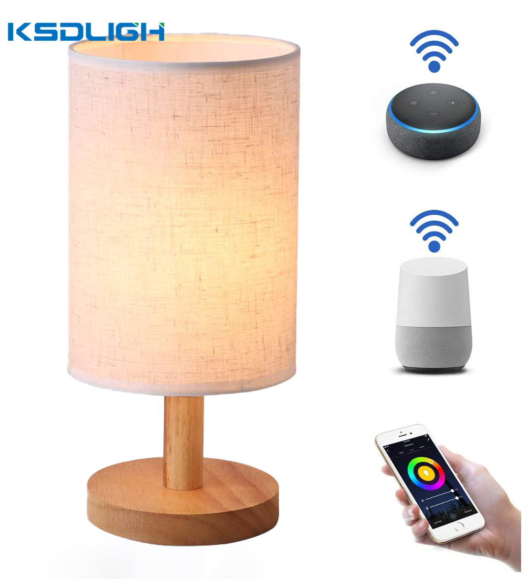 Smart Bedside Nordic Wood Table Lamp Modern 9W Dimmable Multicolour Night Light for Bedroom Living Room with Alexa Google Home