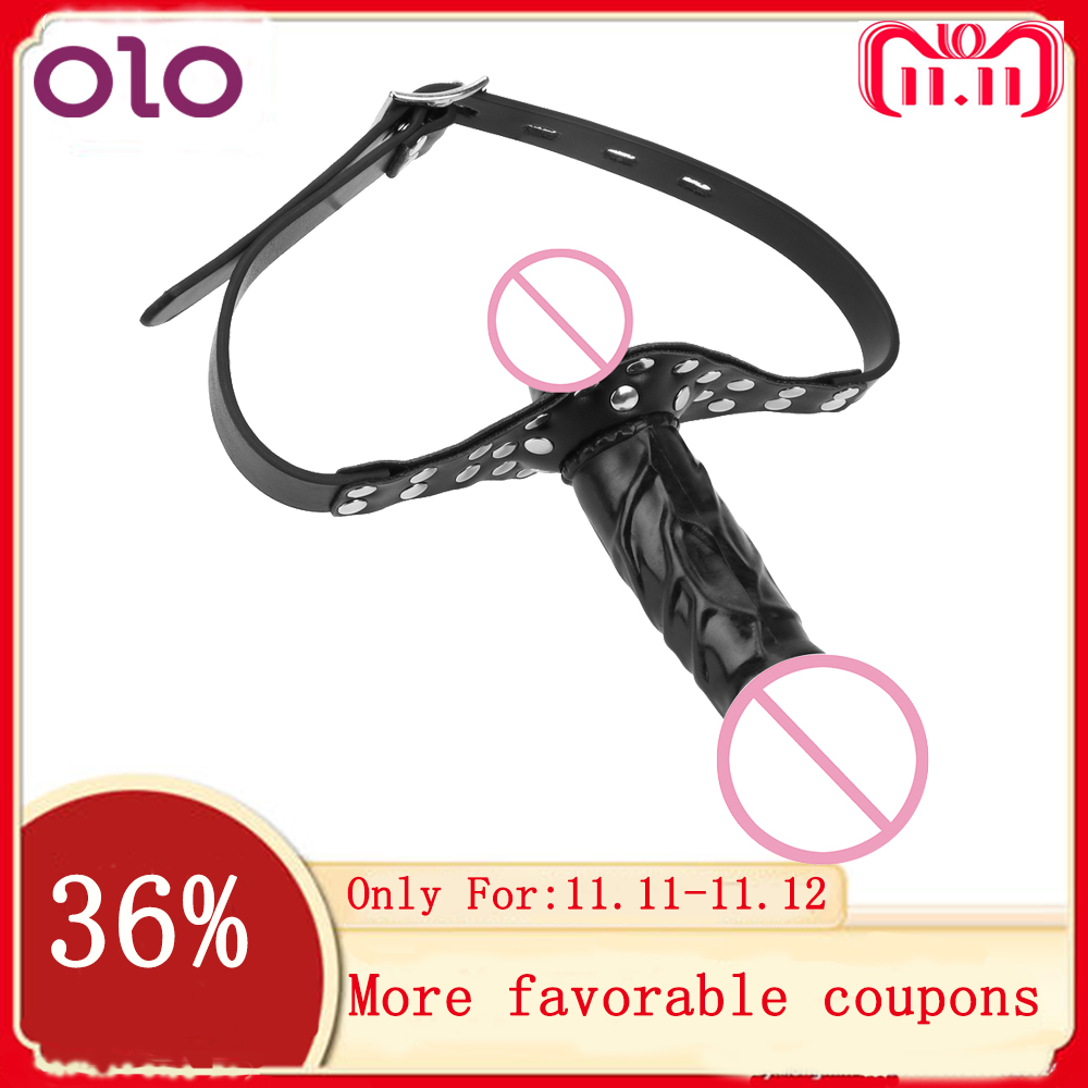 OLO <font><b>Adult</b></font> Games <font><b>Strapon</b></font> Dildo Head Strap on <font><b>Sex</b></font> <font><b>Toys</b></font> for Couples Double Dildos Bandage Realistic Penis Mouth Gag image