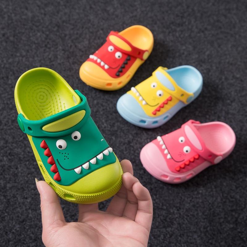 Suihyung Детская летняя пляжная обувь, сандалии для мальчиков и девочек, милая садовая обувь с динозавром, детские Нескользящие тапочки, обувь д...