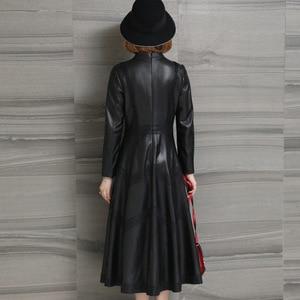 Image 3 - Jesień 2020 nowa skórzana damska długa koronka sukienka wiosna klasyczna skórzana Sleepskin ciepła moda A Line sukienka z okrągłym dekoltem