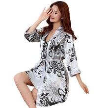 Сексуальный женский халат с принтом, комплект из 2 предметов, атласный халат из вискозы, женское кимоно, банное платье, повседневная одежда для сна, ночная рубашка для подружки невесты, костюм