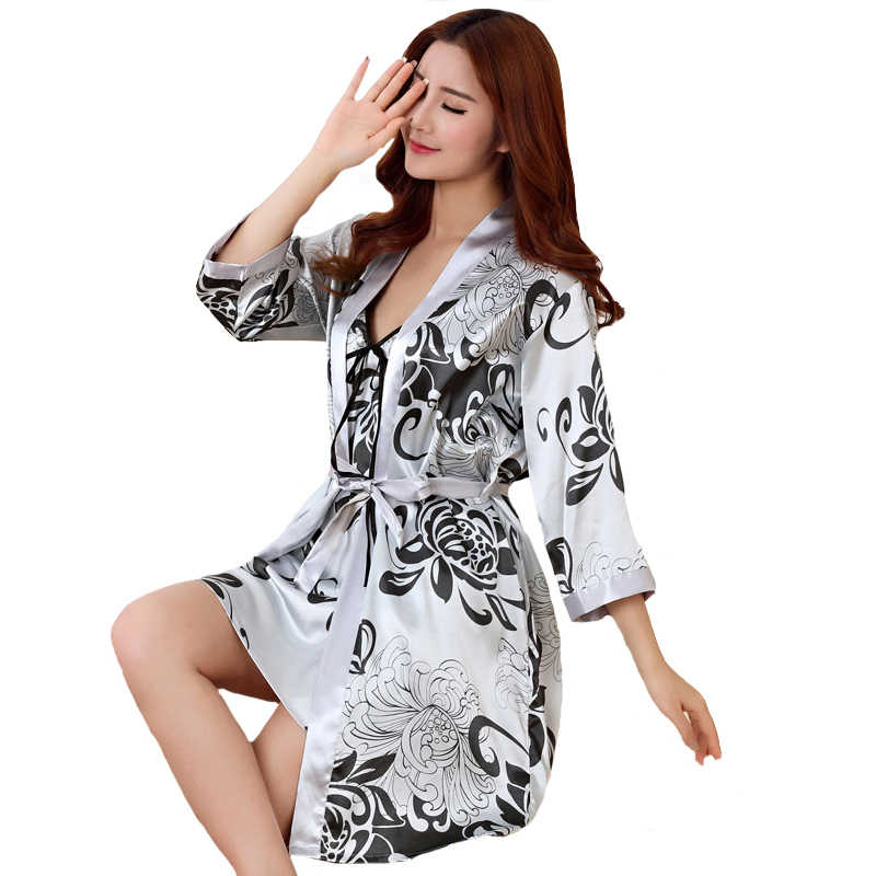 Seksi baskı kadın bornoz seti 2 adet saten Rayon bornoz kadın Kimono banyo kıyafeti rahat pijama gecelikler nedime elbiseler takım elbise