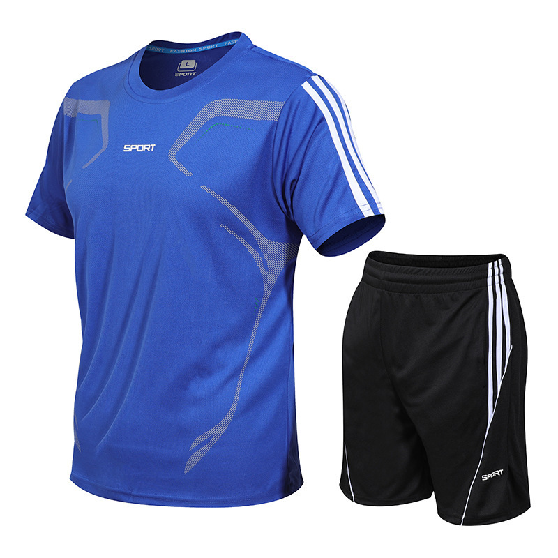 2019 New Style MEN'S Sport Suit Running Clothing Fitness Summer Two-Piece Set Sports Clothing Short Sleeve Ball Uniform Suit