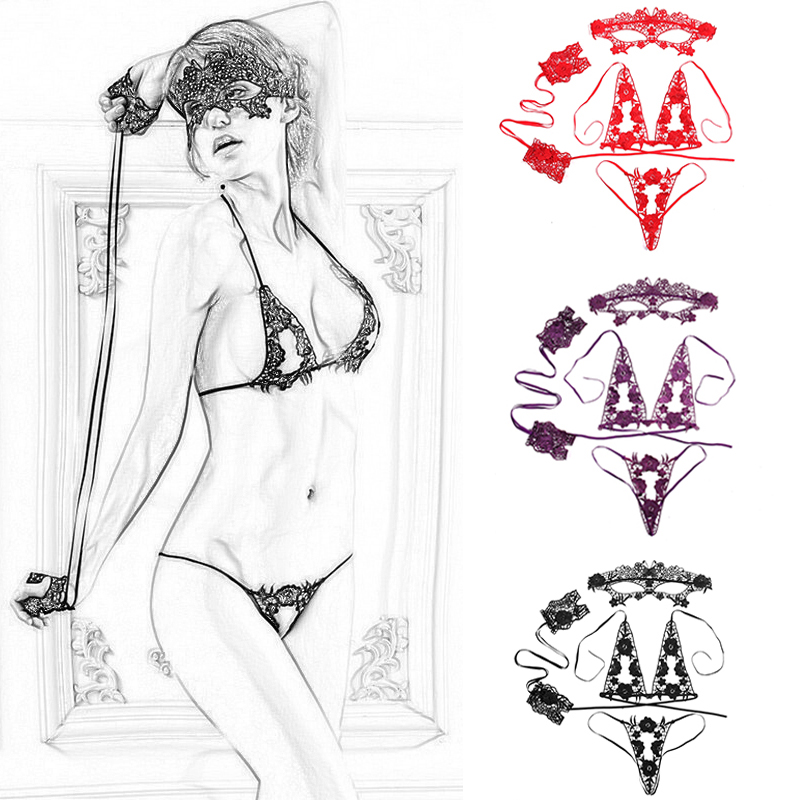 4pcs Hot Erotic Thong & Net Mask & Sling Handcuffs & Bra And Panty Set Lace Underwear Set Women Bras Sexy Lingerie Femme Bra Set