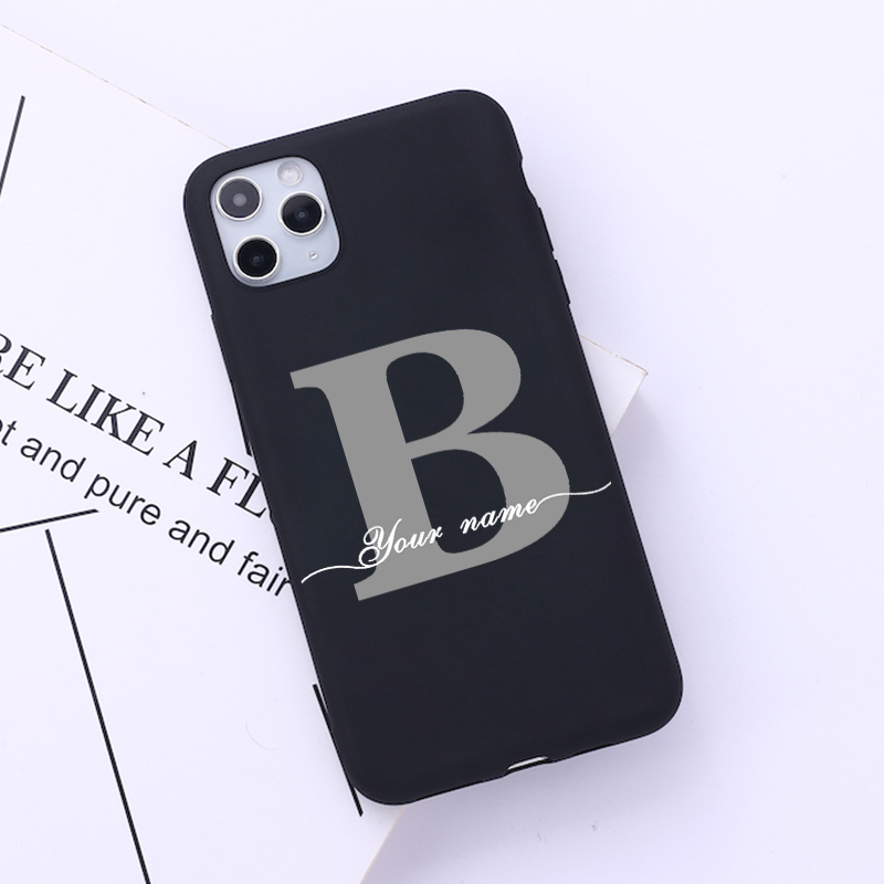DIY Custom Name Phone Case Soft Back Silicone Cover Funda For iPhone 11 Pro Max SE 2020 Coque Marble Initial Name DIY iPhone XR
