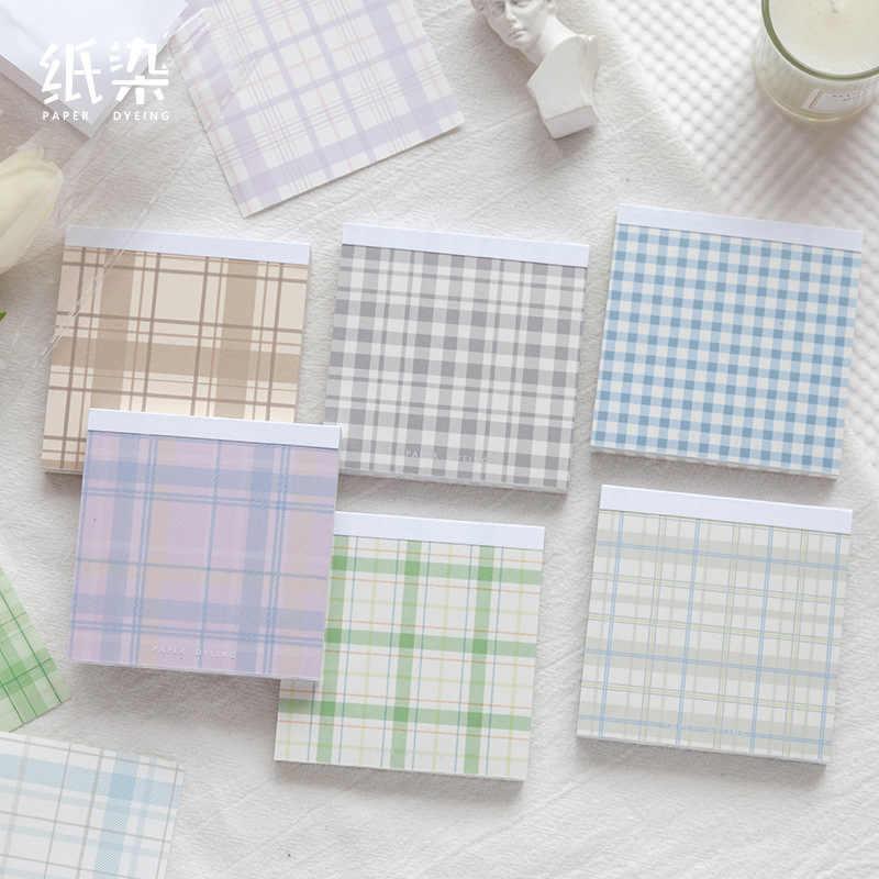 Leuke Kawaii Plaid Serie Memo Pad Sticky Notes Briefpapier Bericht Geplaatst Het Planner Stickers Blocnotes Kantoor Schoolbenodigdheden