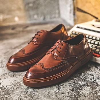 Vintage Brogue Buty Meskie Men Flat Men Casual Shoes Increased Business Buty Meskie фото