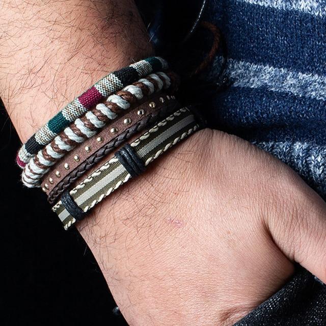 12 Style Metal Leather Bracelets Men Jewelry Vintage Classic Retro Plant Charm Bracelet Bangles Homme Male Jewellry 20.5CM 1
