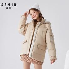SEMIR 2020 winter new down jacket women bf wind stand collar