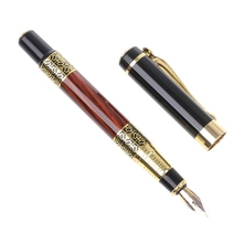 Imitation Red Wooden With Carving Flower Medium Nib 0.5mm Fountain Pen Supplies X6HB dika wen luxury fashion beautiful golden carving mahogany paint medium nib roller ball pen new