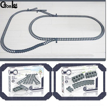 (GonLeI) New Train Streight And Curve Track Building Brick Block Toys Compatible With Lepining Train All Brand cheap Unisex 6 years old Building Blocks Bricks Toys For Children DO NOT EAT Plastic Self-Locking Bricks