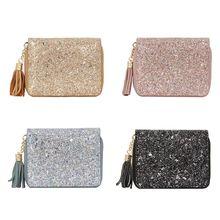 Women Fashion Genuine Leather Tassel Wallet Purse Credit Card Holder Cards Case Pocket Organizer F42A