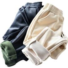Женские зимние однотонные вельветовые брюки толстые теплые осенние