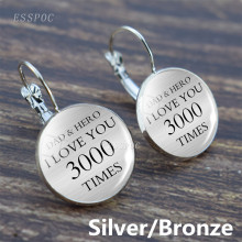 "Silver/Bronze Letter Hook Earring ""I Love You 3000 Times""Dad & Hero Glass Cabochon Daughter Jewelry"