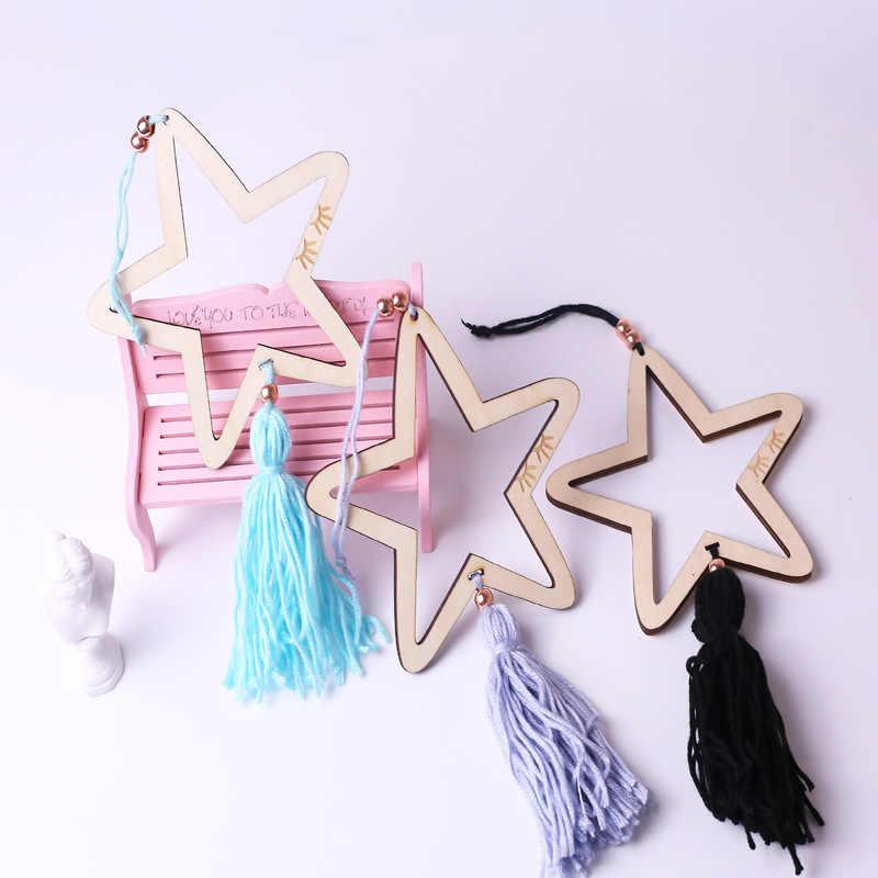 Ins nordic borla de madeira estrelas decoração banner do quarto do bebê decoração da cama pára-choques crianças festa bandeiras crianças meninas decoração do quarto