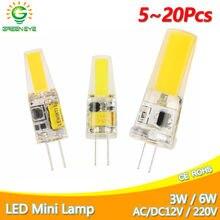 Greeneye led g4 g9 lâmpada 3w 6 10 ac/dc 12v 220v 240v cob smd led g4 g9 lâmpada pode ser escurecido substituir halogéneo spotlight lustre