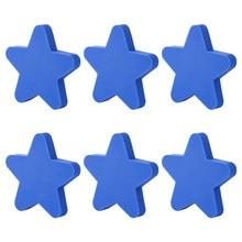 6 pçs cartoon star forma puxadores puxadores de porta botão de armário de pvc haplopore criativo puxador para armário de guarda-roupa-rosa azul