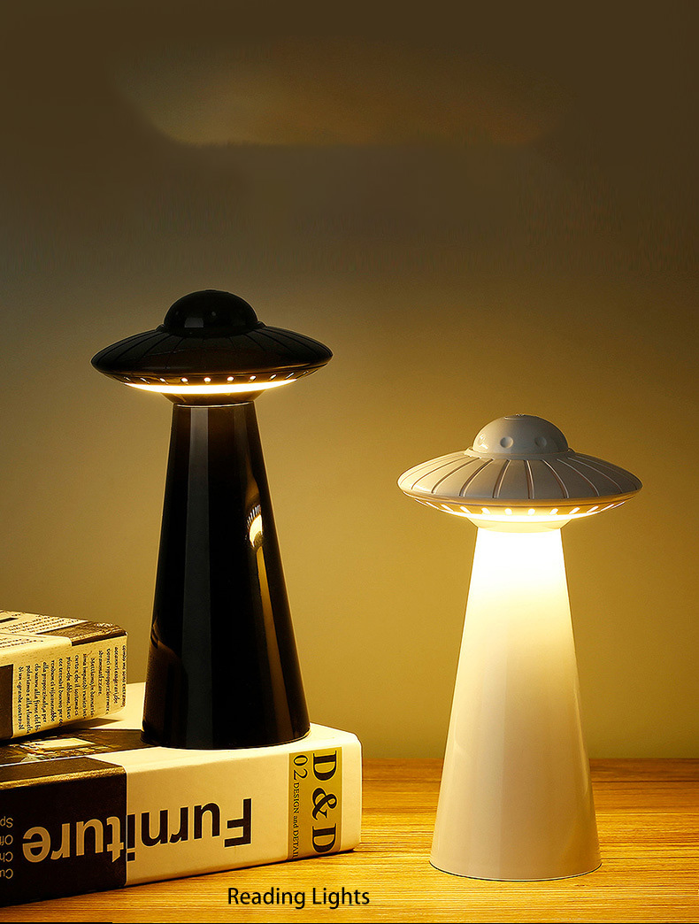 UFO Design USB Rechargeable LED Table Lamp Dimmable Reading Flicker-Free Light Smart Night Light Bedside Lamp Student Children
