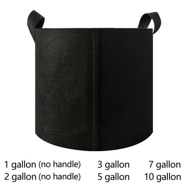 1-10 galões de tecido crescer sacos potes respiráveis plantador raiz pouch recipiente planta potes práticos com alças jardim suprimentos