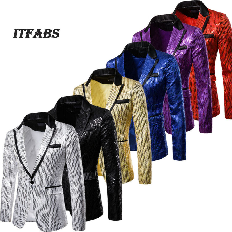 <font><b>Men</b></font> Bridegroom Suit <font><b>Sequins</b></font> Show <font><b>Blazer</b></font> Lapel Coat Slim <font><b>Jacket</b></font> Wedding Party image