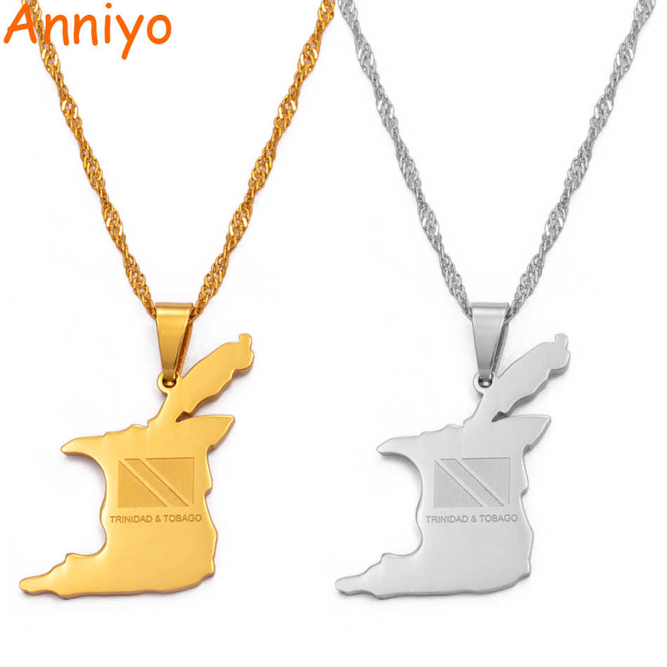 Anniyo (Pendant: 2.7cm X 2cm) Trinidad and Tobago Map Flag Pendant and Necklace Gold Color Trendy Jewelry Gifts #000421