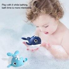 Cute cartoon whale clockwork bathtub toy baby bath toy baby bath fun toy new 2021 #W