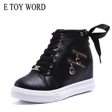 E TOY WORD Women Shoes 2019 New Autumn Casual High help Height increased Platform Black & White Sneakers