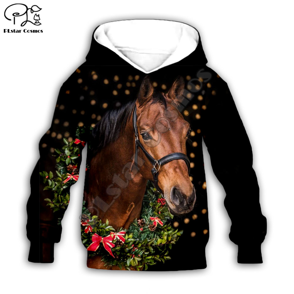 Kid Santa Horse 3D Print Hoodie Children Baby Boy Girl Clothing Merry Christmas Gift Sweatshirt Zipper Tshirt Pant Shorts