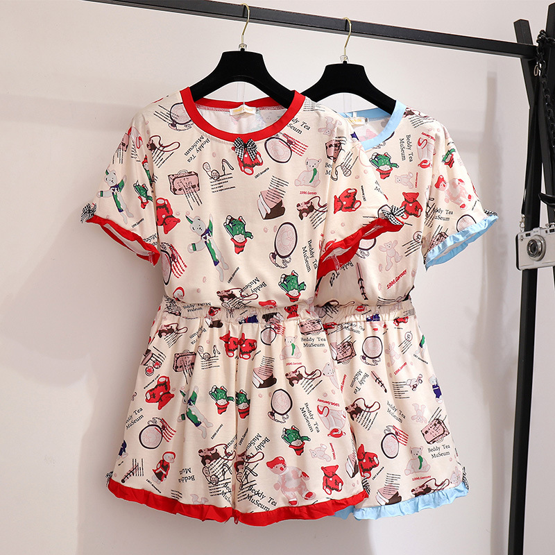 300 Ultra-Large Size Dress Fat Mm2019 Summer Short-sleeved Lace Pajamas Tracksuit Loose-Fit Two-Piece Set