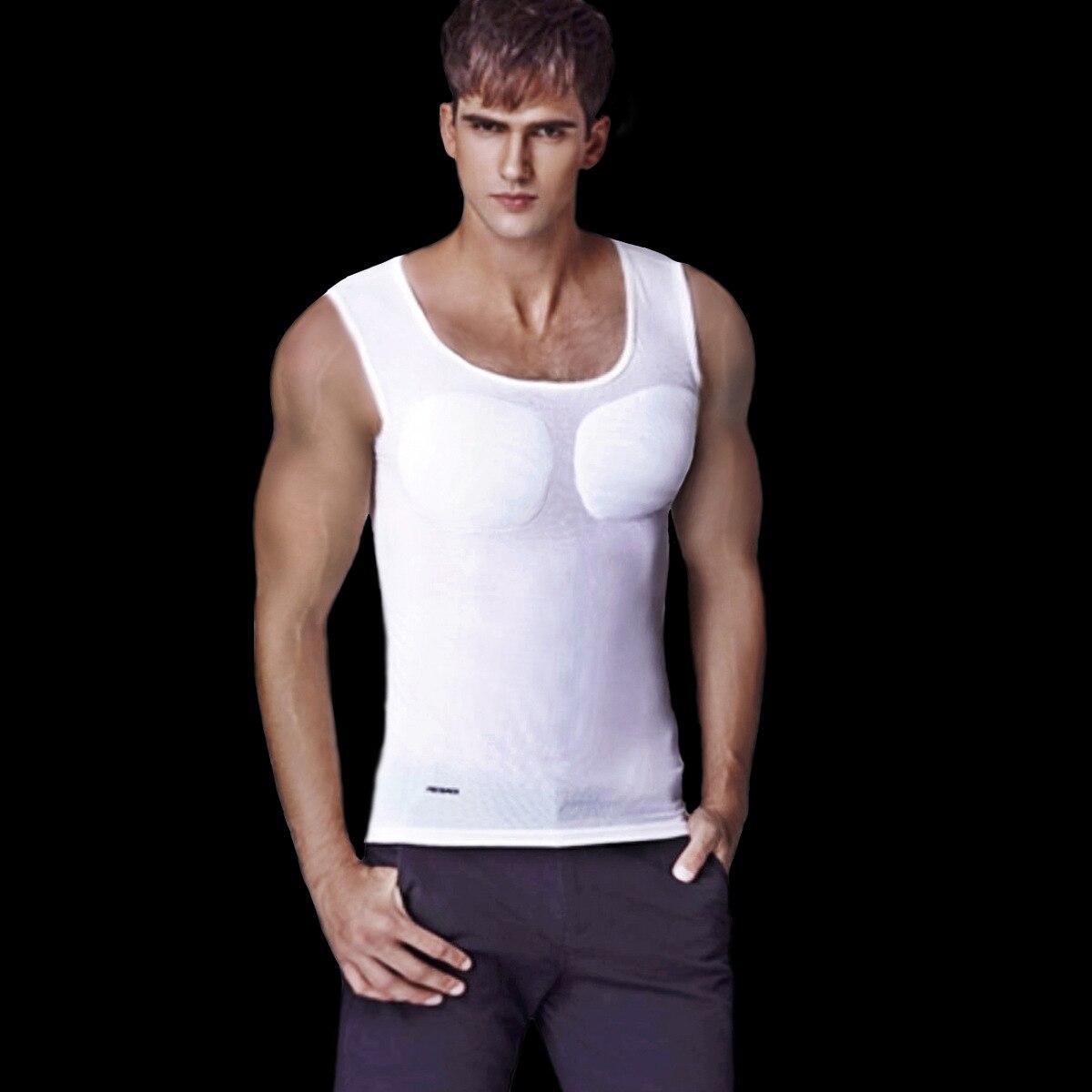 Pecs Muscle Vest Men Padded Body Shaper Male Bodybuilding T Shirt Tummy Underwear Beer Belly Tank Tops