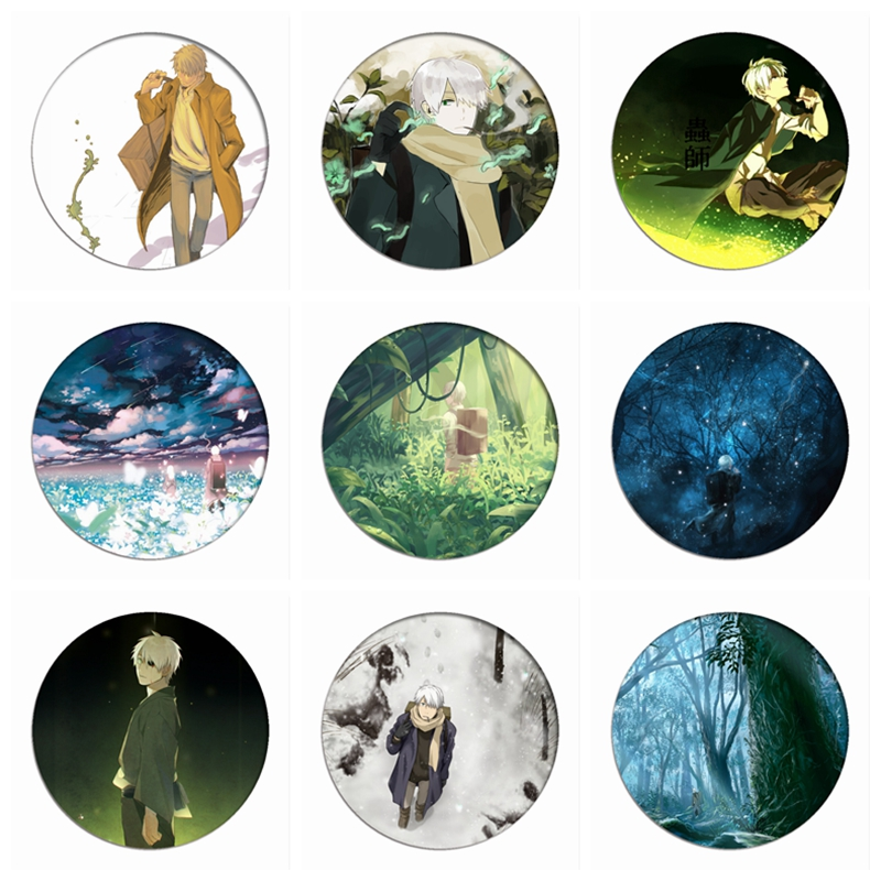 Mushishi Zoku Shou Cosplay Badges Ginko Brooch Icon Collection Bags Breastpin For Backpacks Clothing