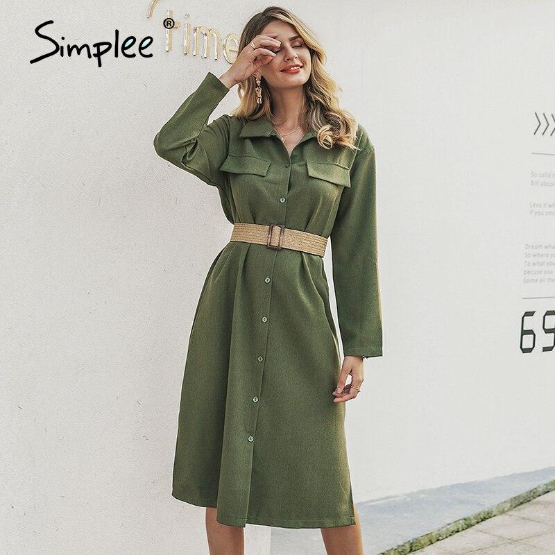 Женское летнее длинное платье-рубашка Simplee, шифоновое винтажное офисное женское платье-макси на пуговицах, с V-образным вырезом, размера плю...