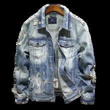 2019 Slim Fit Men Denim Blue Jeans Coat Long Sleev