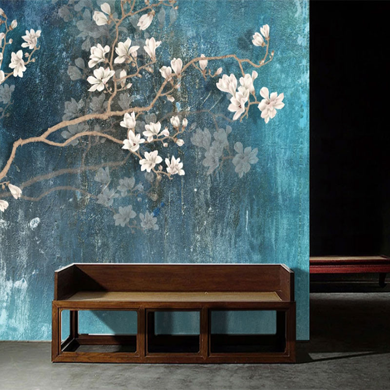 Seamless Wallpaper Hand Painted Magnolia Blue Oil Painting Style Background Wall
