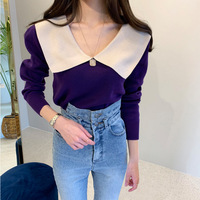 2019 New Style South Korea CHIC Style Double Color Mix And Match Sweet And Charming Flounced Big V neck Sweater