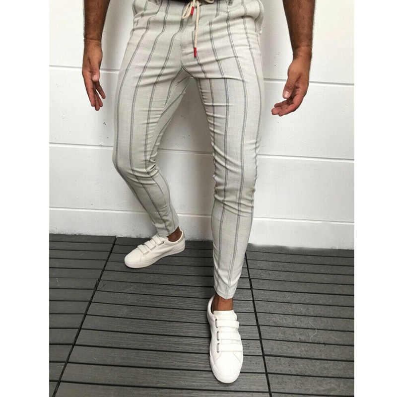 メンズフォーマルビジネスストライプドレスパンツスリムフィットカジュアル長ズボン 2019 ストライプ男性パンツ