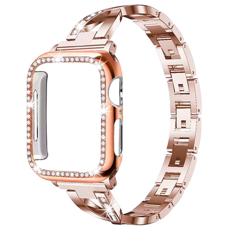 For Apple Watch Band Ladies Strap+Case 38mm / 42mm / 40mm / 44mm Diamond Iwatch Series Stainless Steel Strap 5 4 3 2 1 Bracelet