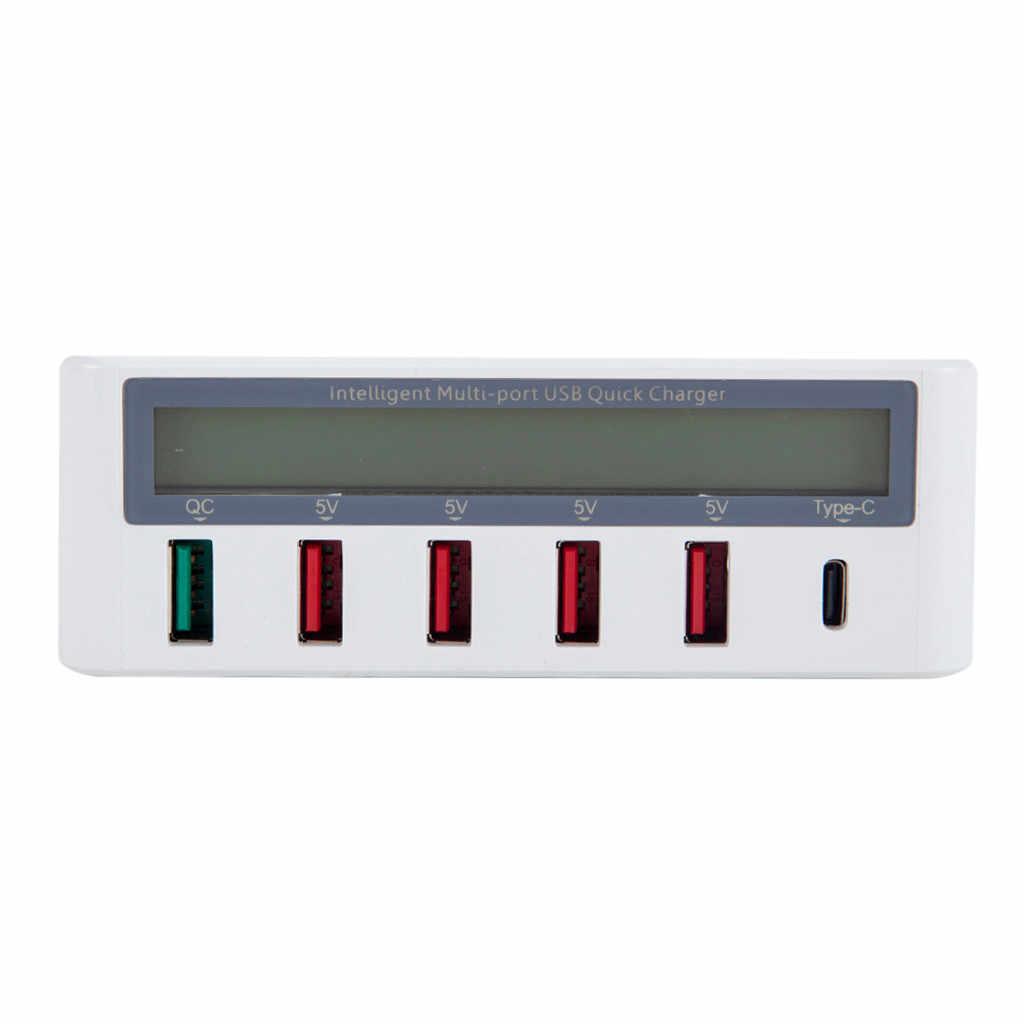 สวิตช์ USB QC3.0 USB 5 พอร์ต + Type-C ชาร์จ HUB พร้อมจอแสดงผล LCD สำหรับ Pad Sams ung อะแดปเตอร์แท็บเล็ต pc USB Hubs-L909