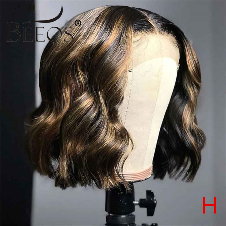 Beeos 180% 13*6 Short Wavy Bob Highlight Color Lace Front Human Hair Wigs For Woman Pre Plucked Bleached Knots Brazilian Remy