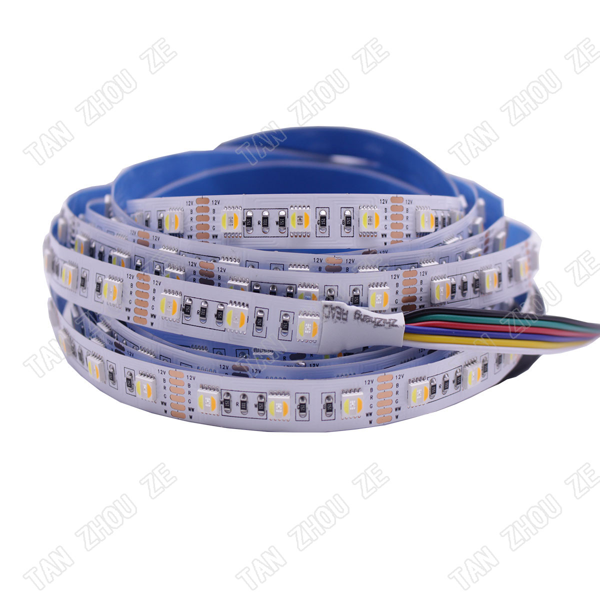 RGBCCT LED Strip 5050 12V / 24V 5 Color in 1 Chips RGB+WW+CW 60 LEDs/m 5m/lot RGBW LED Strip Light 5m/lot 12MM PCB 300LEDs/5m image