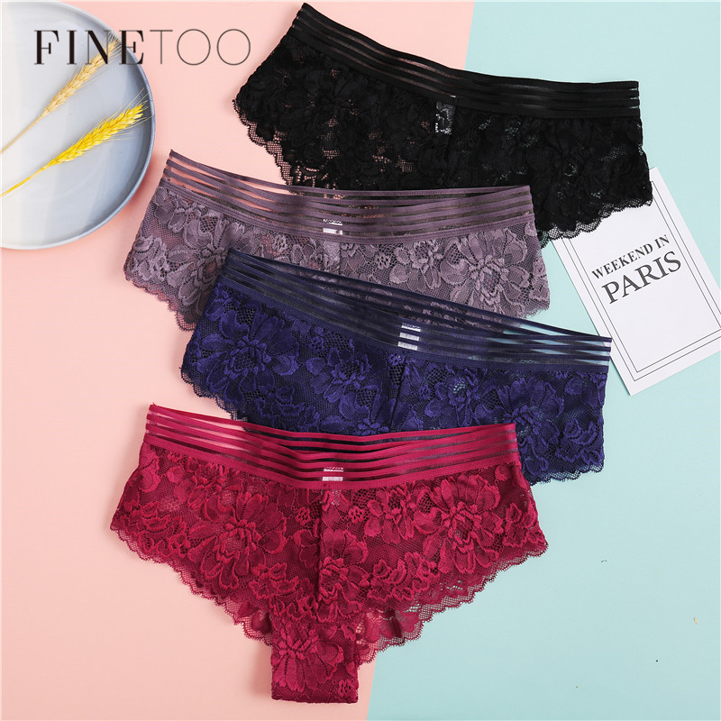Floral Lace Panties 3Pcs/lot Low-Rise Organza Knickers Sexy Hollow Briefs Female Underwear Women's Underpants Sexy Lingerie M-XL