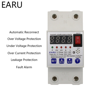 Image 1 - 63A Automatic Reconnect Circuit Breaker Over And Under Voltage Over Current Leakage Protection Surge Protect Protector Relay
