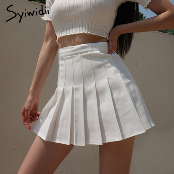 Syiwidii Pleated Skirt Woman Pink White Black Lolita Kawaii Summer Mini Skirts Plus Size 2021 Fashion Clothing Cute Sweet Girls 1