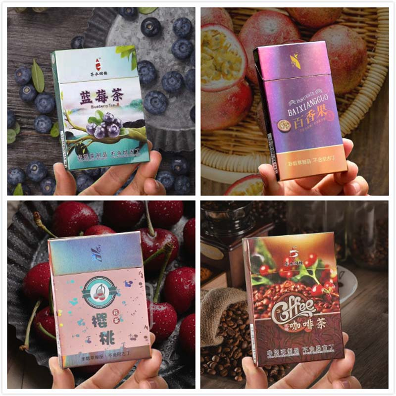 4 Packs New Flavor Blueberry Coffee Cherry Passion Fruit Tea Cigarette Clearing Lung To Quit Smoking Wholesale