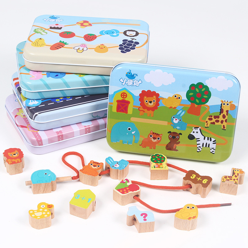 Children Wooden Iron Box Wearing Rope Threading Beaded Bracelet Multi-Paragraph Baby Ability Parent And Child Interactive Educat