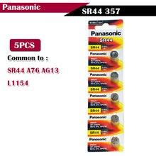 Panasonic – piles à pile bouton originales, lot de 5 pièces, 1.55V, SR44, 357, SR44, A76, AG13, L1154, 357, 357a, LR44, oxyde d'argent