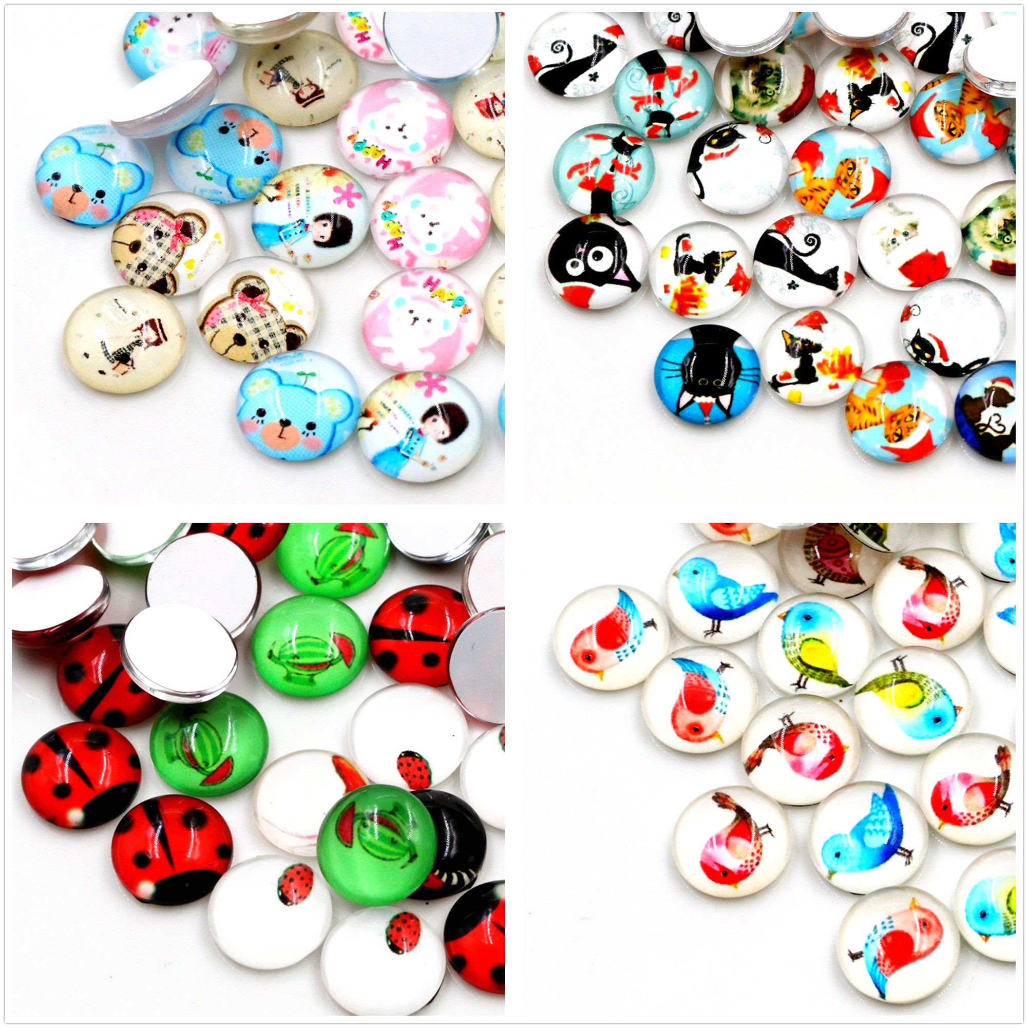 50pcs/Lot 12mm Colorful Cut New Photo Glass Cabochons Mixed Color Cabochons For Bracelet Earrings Necklace Bases Settings