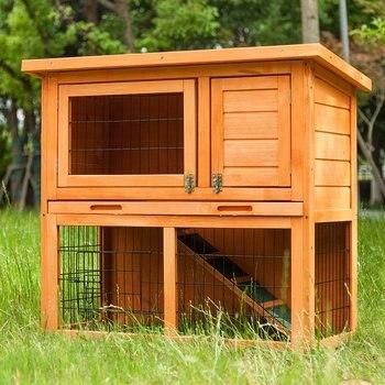 2-Tier Rabbit House Bunny Hutch Cage Solid Wooden Guinea Pig Chicken Coop Hen Hutch Hide Run Inner Loft with Linoleum Roof