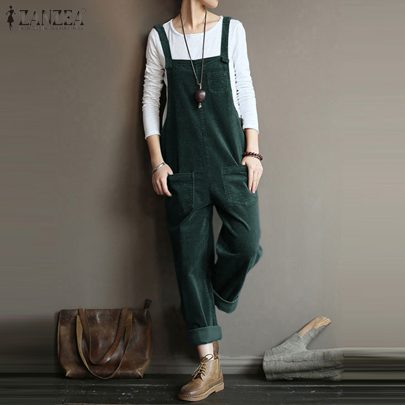 Womens Wide Leg Overalls Straps Pinafore Apron Playsuit Rompers Trousers Pants
